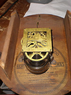 Antique-Ingraham-8Day-Gallery Clock Movement/Parts-Ca.1860s-To Restore-#M188