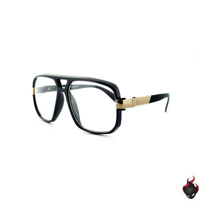 Classic Oversized Square Flat Top Aviator Accented Temple Clear Glasses