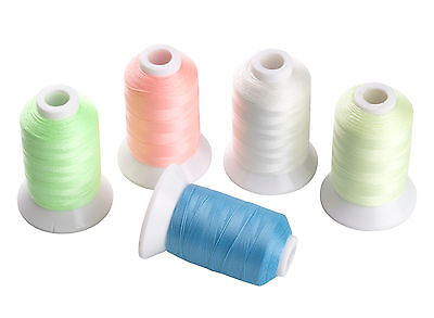 SIMTHREAD Luminous Glow in Dark Embroidery Thread - 5 Colors, 550Y Each