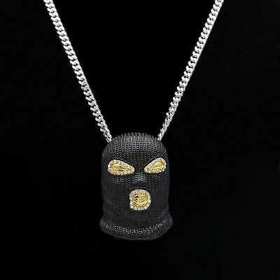 Iced Out Goon Mask Chain Necklace Gangster Pendant Hip Hop Rapper Rap Trapstar