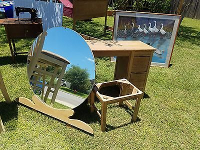 Antique Vanity w Round Mirror- Bench & Full Size Wood Bed Frame
