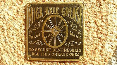 100 + Year Old Solid Brass Mica Axle Grease New Old Stock (NOS) Wagon Tag RARE!!