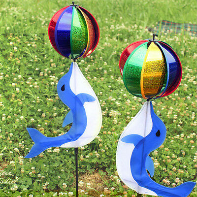 Colorful Dolphin Windmill Rotator Whirligig Wheel Garden Decor Kids Outdoor Toy