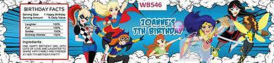 Girls Superhero Personalised Party Water Bottle Labels Set Of 4 ~ Wb546