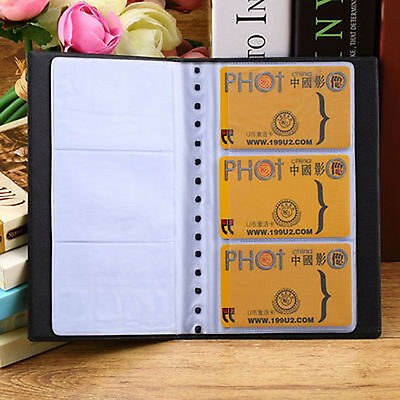 120 Cards Business Name ID Credit Holder Book Case Keeper Organizer Leather