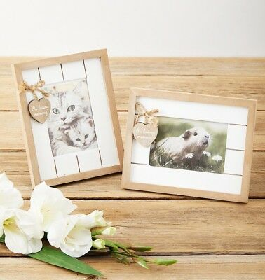 Rustic Wooden Pet Memorial Photo Frame. In loving memory Rainbow Bridge Sympathy