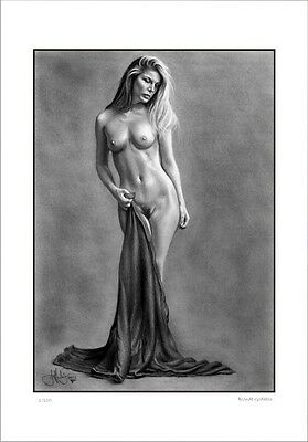 Nude Female  Study  ' Blonde Goddess  '     Drawing          Limited Edition