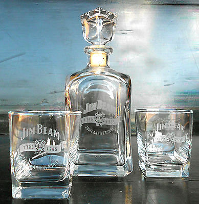 Jim Beam 200th Anniversary Crystal Glass Decanter With Matching Glasses-Rare!!!!