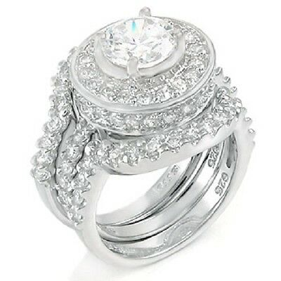 STERLING SILVER Simulated Diamond Engagement Bridal 3 Ring Set Size 9 10 / R T