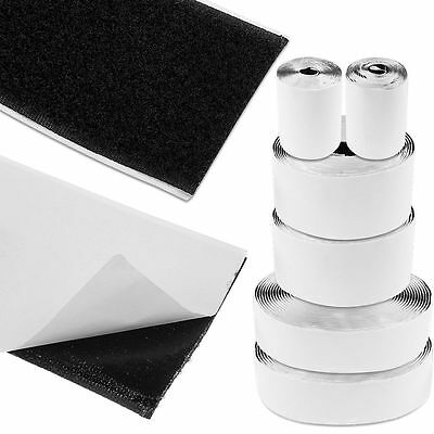 1m-25m Heavy Duty Self Adhesive Sticky Back Hook And Loop Fastening Tape Black