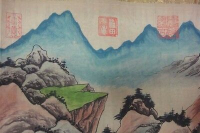 "Very Long Rare Old Chinese Scroll Painting Landscapes ""WangWei"" Marks"