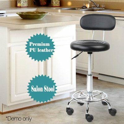 Salon Stool Swivel Barber Hairdressing Chair Hydraulic Lift Round Backrest PU