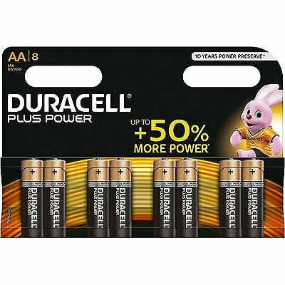 8 x Duracell AA Plus Power Duralock Alkaline Batteries Cell LR6 Non-Rechargeable