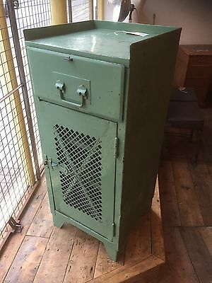 French Vintage Painted Steel Industrial Mechanics Cabinet