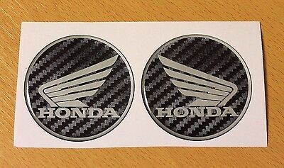 Honda Wings stickers/decals Carbon Fibre effect-40mm HIGH GLOSS DOMED GEL FINISH