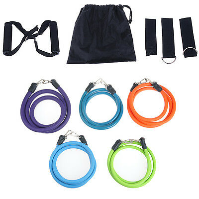 11PCS Power Heavy RESISTANCE BAND Yoga Tension Rope Abs Gym Door LOOP Fitness AU