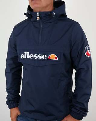 Ellesse Mont II Quarter Zip Smock Jacket in Navy Blue - hooded coat windbreaker