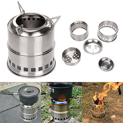 Alcohol Stove Portable Stainless Steel Outdoor Camping Survival Wood Burning BBQ