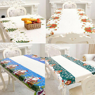 Disposable Christmas Table Cover Cloth Wipe Clean Party Tablecloth Covers