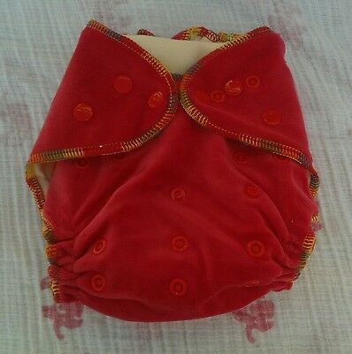 1 New Red Bamboo Velour Cloth Diaper Nappy Adjustable 8-33lbs, Free Insert!