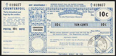 Fiji, Postal Order, 10 cents, 1977, with counterfoil