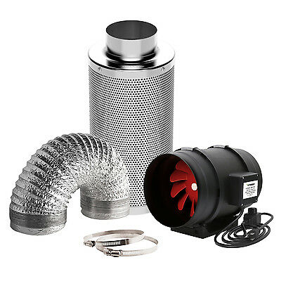 "VIVOSUN 4"" 6"" 8"" inch Inline Duct Fan w/ Controller Carbon Filter Ducting Combo"