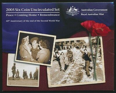 Australia 2005 Uncirculated set Cat $50 End of WWII Commemorative