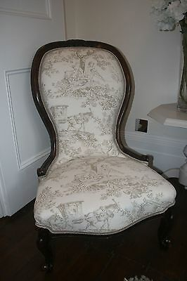 Victorian Nursing Chair recently reupholstered in Lorient Lyon Toile de Jouy