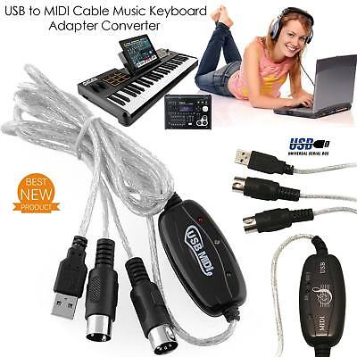 USB Midi Cable Lead Adaptor Keyboard Interface to PC For Mac & Windows UK Stock