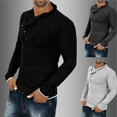 New Mens Fashion Luxury Casual Slim Fit Stylish Long Sleeve Muscle Shirts Tops