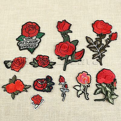 11pcs Rose Flower Sew Iron On Patches Badge Embroidered Bag Hat Clothes Applique