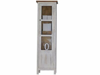 Rustic Glass Fronted Cabinet Showcase Dresser Cupboard Wood Doors Country Style