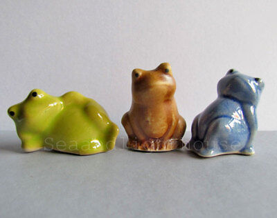 Blue Green Brown FROG Miniature Ceramic Animal Figurine Collectible Decor