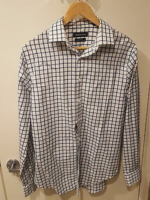 Country Road Mens Blue Check Long Sleeve Business Shirt Tailored Fit Size M (41)