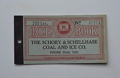 Unused 200 lbs SCHORY & SCHELLHASE COAL AND ICE COUPON BOOK ~ Canton, Ohio