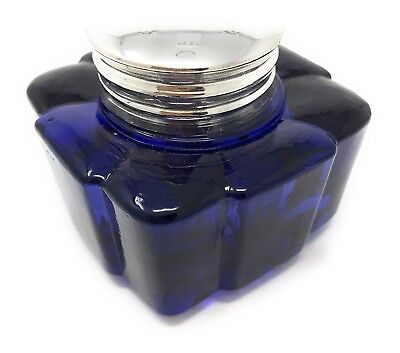 Fluted Square Glass Inkwell, Colbalt Blue, By Madison Bay 2.875W X 2.5H