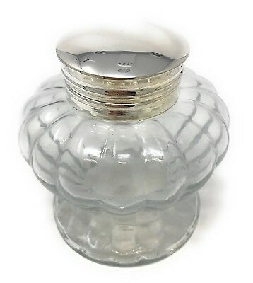 Pedestal Glass Inkwell, Clear Swirled, By Madison Bay 3Diameter X 3.25H