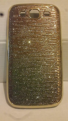Gold and Silver Bling Hard Shell Back Case for Samsung Galaxy S3