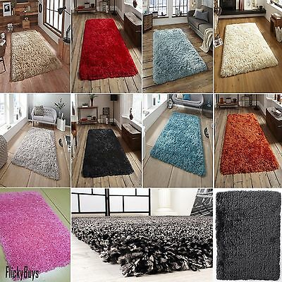 SMALL X LARGE SIZE 5cm PILE THICK PLAIN SOFT SHAGGY RUG NON SHED MODERN RUGS