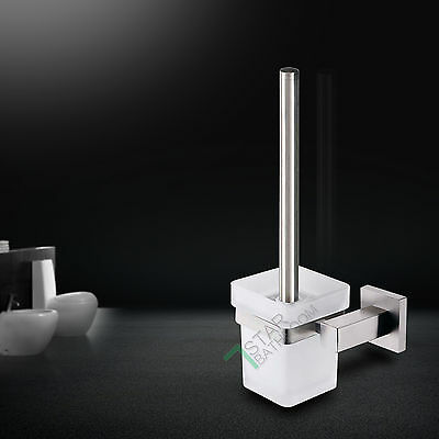 Toilet Brushes Holder SET Wall Mounted Stainless Steel Holder Square Glass Wash