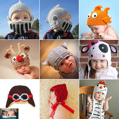 Newborn Baby Boys Girl Cute Animal Crochet Knit Hat Photo Photography Prop Caps