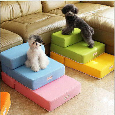 2 layers Dog Bed Mat Foldable Breathable Solid Color Pet Mat Ladder