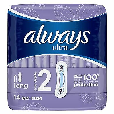Always Ultra Long Sanitary Towels Pads Size 2 Womens Super Absorbent Pack of 14