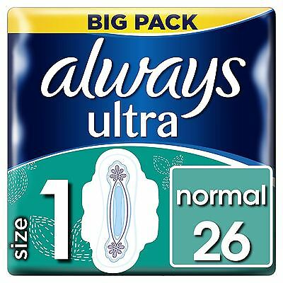 Always Ultra Normal Sanitary Towels Pads Size 1 Wings Women Absorbent Pack of 26