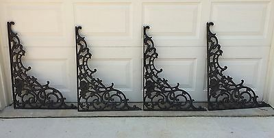 4 Huge Antique Victorian Cast Iron Architectural BRACKETS 30 inches x 22 inches