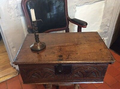17th Century Oak Bible Box Carved Document Chest Table Country House