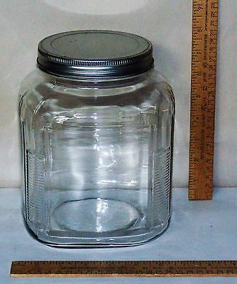 Square GLASS JAR w/Metal Screw-On Lid - Ribbed Corners - Coffee Jar?