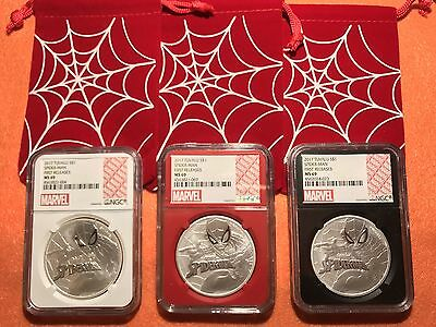 2017 Tuvalu Perth Mint Marvel SpiderMan 1 oz .999 Silver Coins NGC MS69 Red Slab