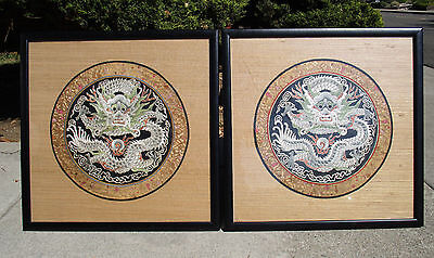 Pair of Antique Qinq Dynasty Chinese Embroidered 5 Claw Dragon Roundels