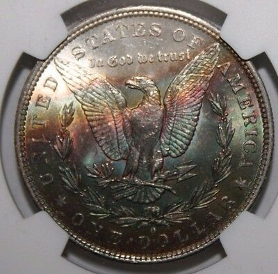1884-O Rainbow Tone Morgan Silver Dollar MS 61 NGC #006